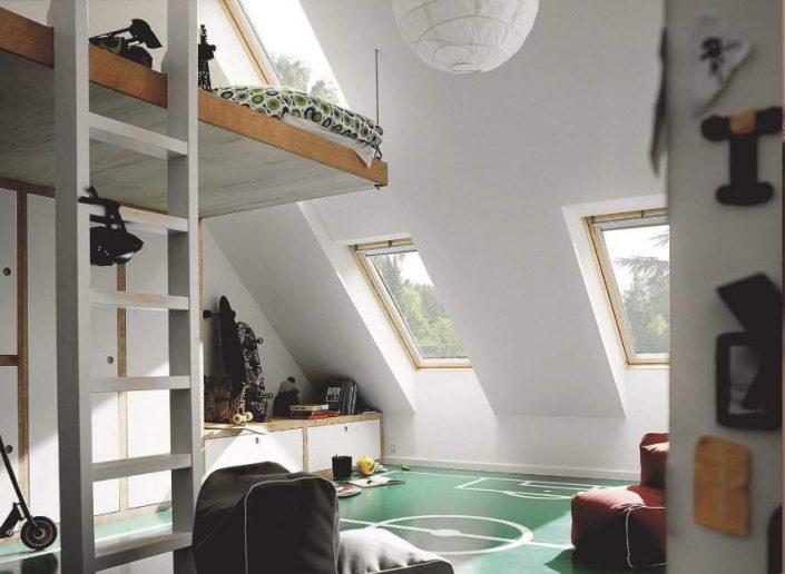 mezzanine sous les toits gain de place chic et pratique. Black Bedroom Furniture Sets. Home Design Ideas