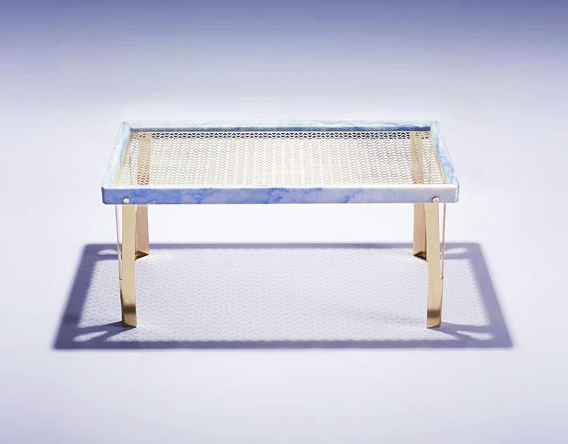 table basse carrée en terrazzo