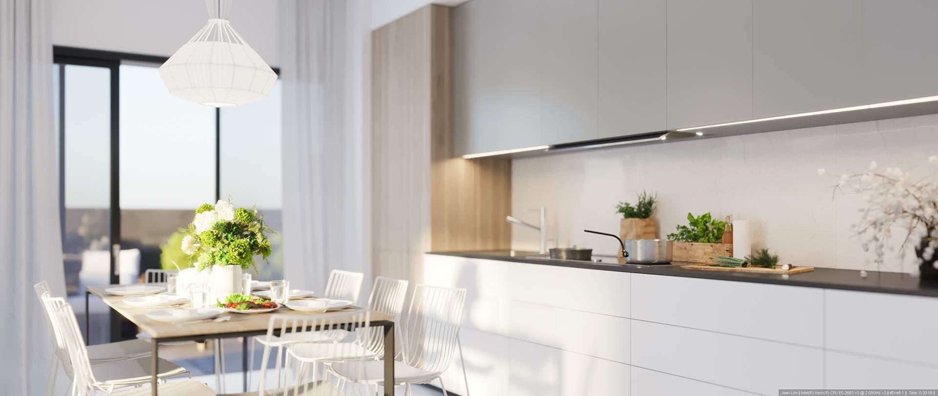 Un appartement décoré minutieusement dans des tons modernes et épurés