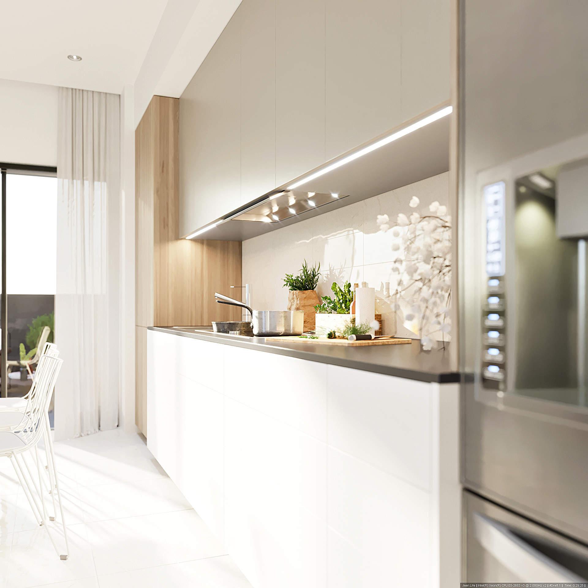 Une cuisine ouverte sur la salle à manger, le salon et le balcon : une innovation singulière