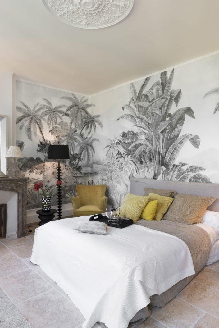 papier peint noir et blanc chambre adulte