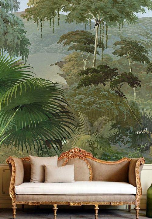 papier peint panoramique plante et jungle