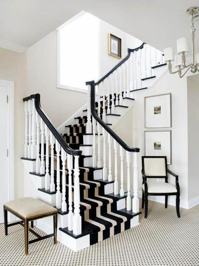 escalier en angle, tapis pour escalier grosse rayure blanche sur noir archz