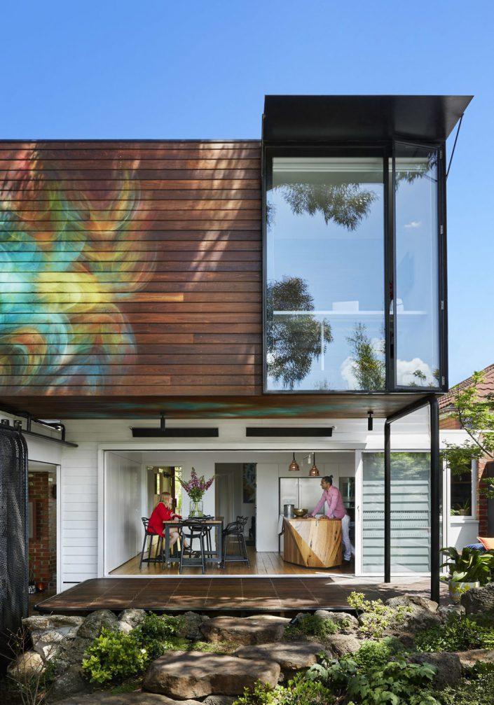 facade et ouverture depuis espace cuisine