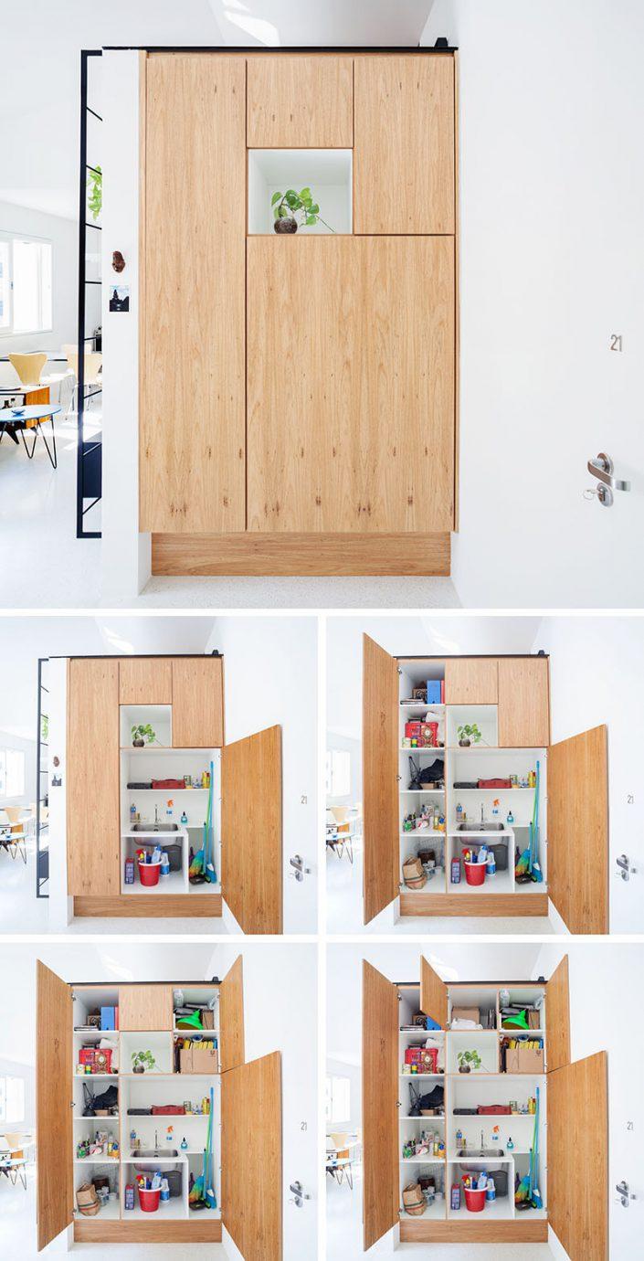 la premiere du meuble donne acces aux produits d'entretien