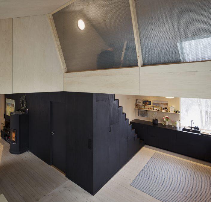 mezzanine cachee au-dessus de la cuisine