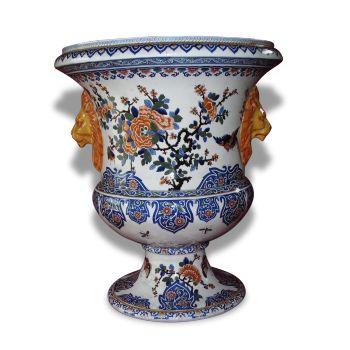 vase medicis en porcelaine avec traits bleu turquoise