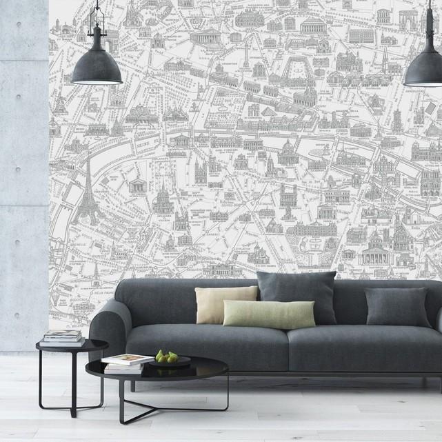 papier peint panoramique Carte de Paris salon béton
