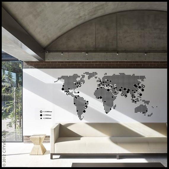 Grand sticker avec une carte du monde en pointillee