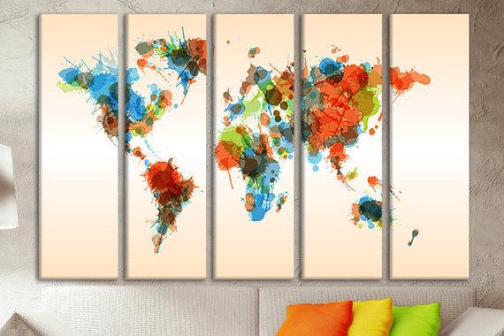 Map monde coloree en plusieurs tableaux plexi