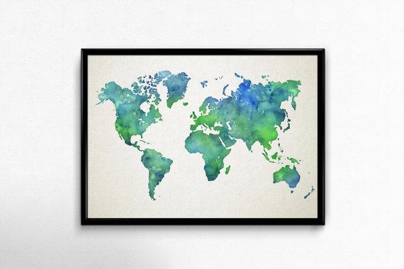 Map monde en aquarelle dans un cadre