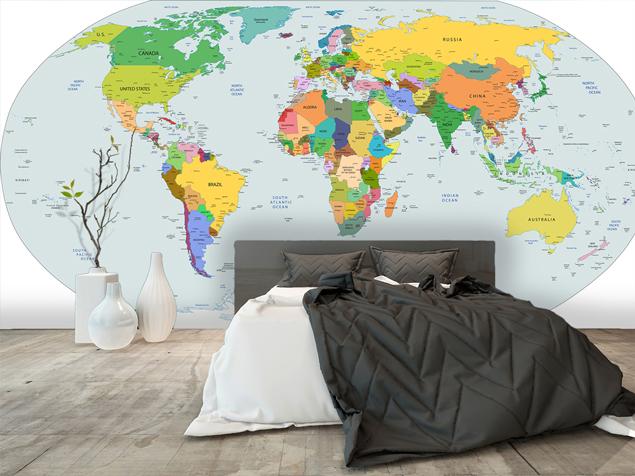 map monde avec des couleurs sur papier peint contemporain
