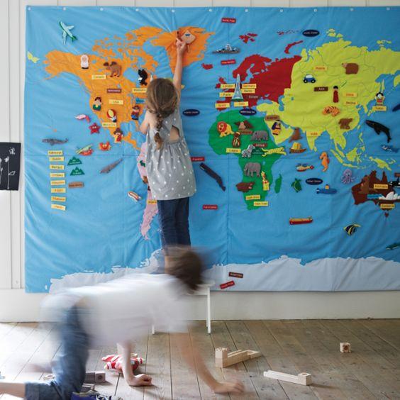 map monde pour enfant en tissu