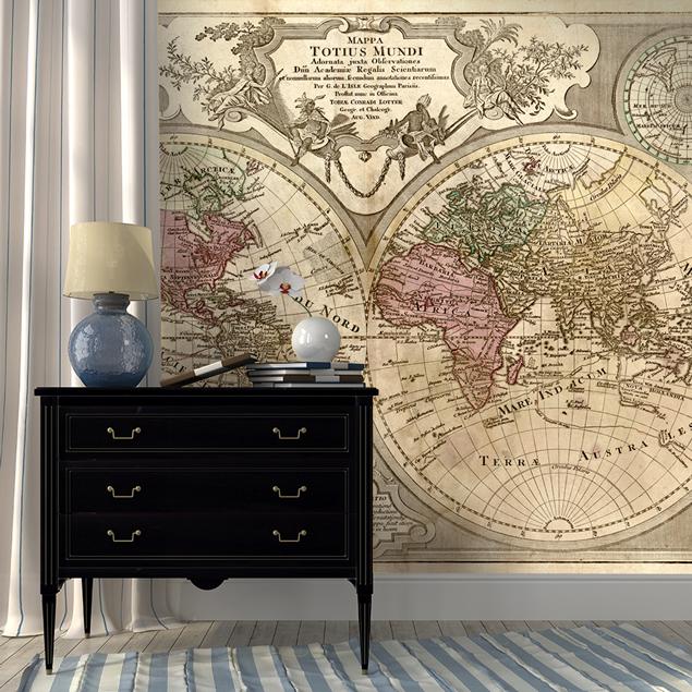 papier peint avec une map monde vintage. Black Bedroom Furniture Sets. Home Design Ideas