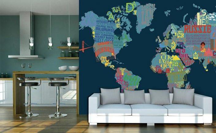 papier peint panoramique avec planisphere et noms des pays