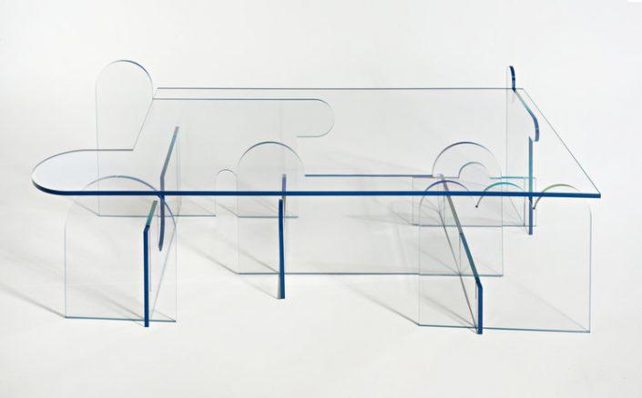 table basse transparente originale phaedo design profil