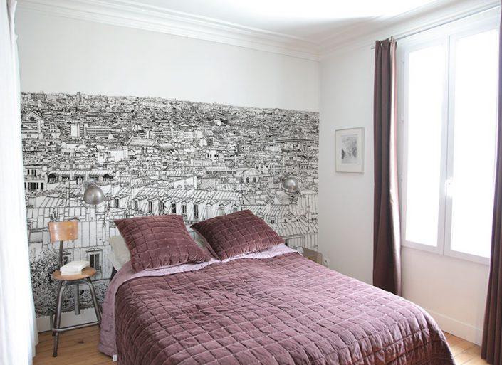 Chambre avec papier peint panoramique Opera Grand Palais a Paris