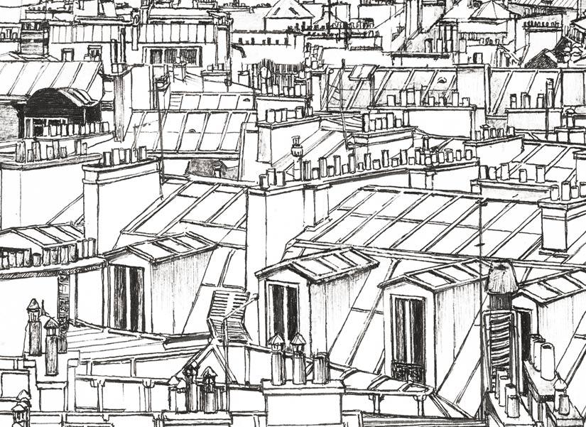 Gros Zoom sur une fenetre d'un immeuble sur le papier peint panoramique entre Montparnasse et la tour Eiffel