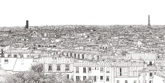 Papier peint panoramique Montparnasse Tour Eiffel a Paris