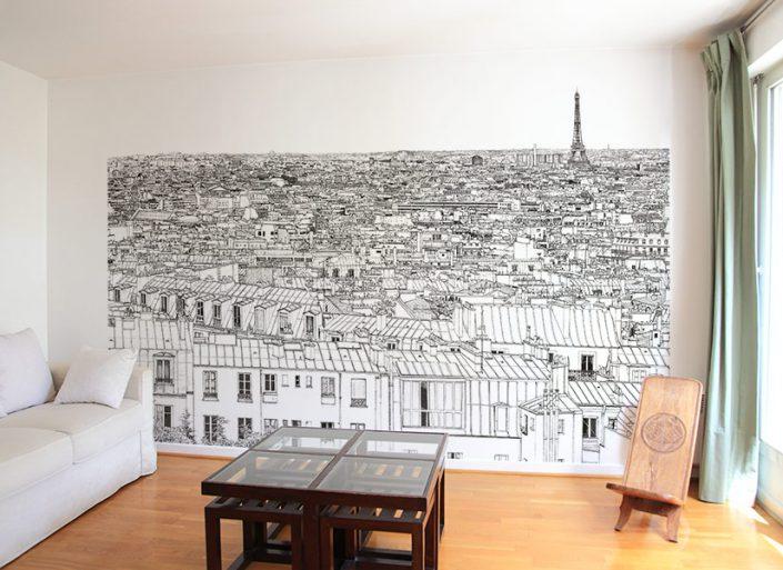 Papier peint panoramique entre Invalides et Tour Eiffel a Paris dans un sejour