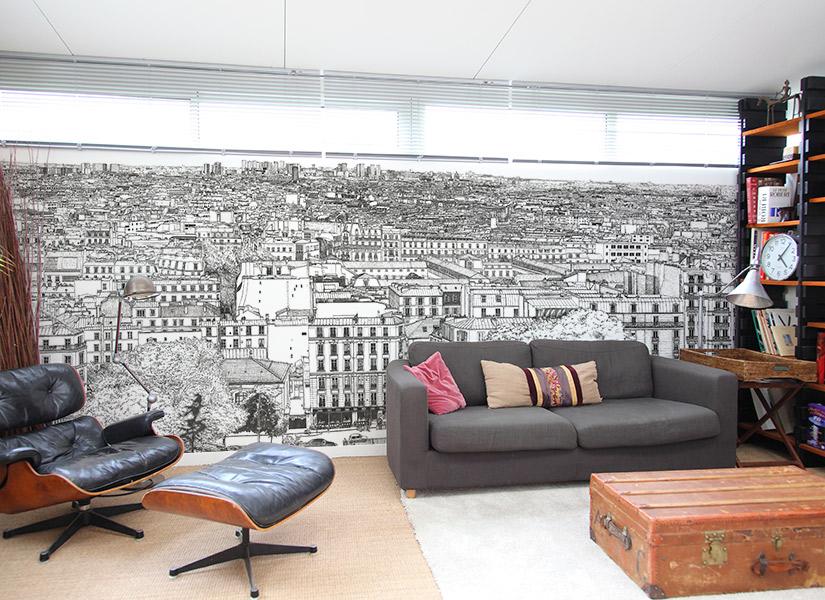 Salon avec Papier peint big panoramique Montmartre