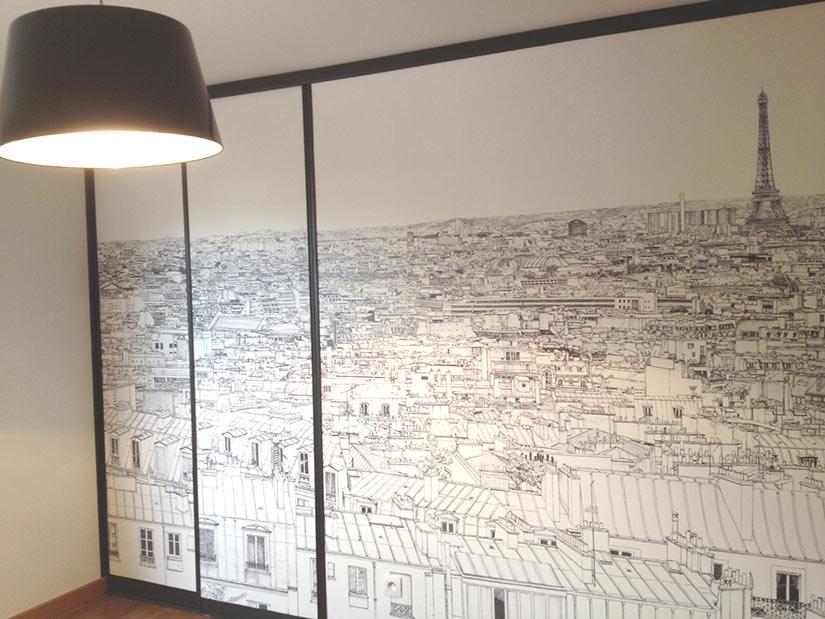 Sur une cloison Papier peint panoramique entre Invalides et Tour Eiffel a Paris