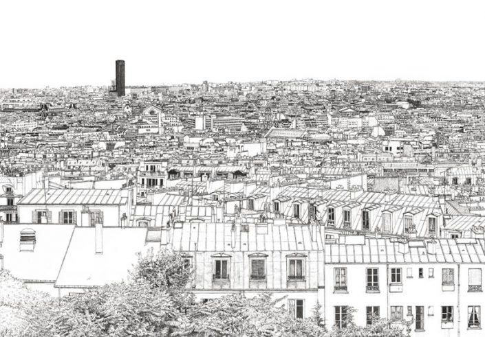 Un autre Zoom sur le papier peint panoramique Montparnasse et Tour Eiffel