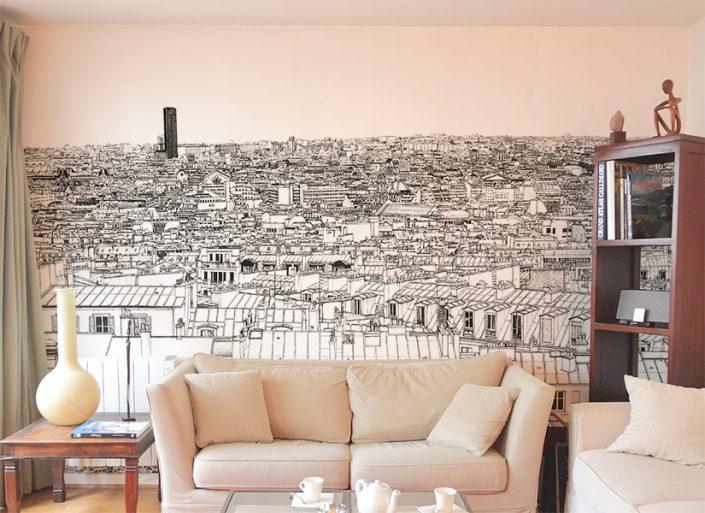 Un autre salon avec un le Tour Montparnasse et Concorde a Paris