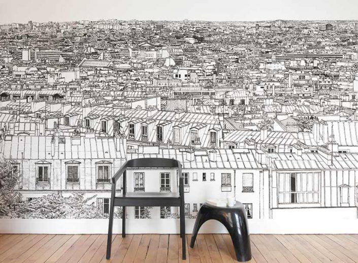 Un coin d'une piece avec papier peint panoramique d'Opera Grand Palais a Paris