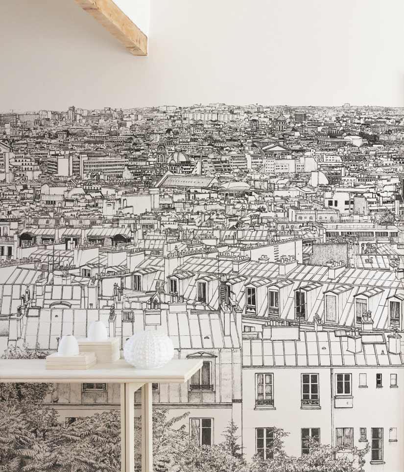 Un papier peint panoramique Opera Grand Palais a Paris dans un coin sejour avec poutre