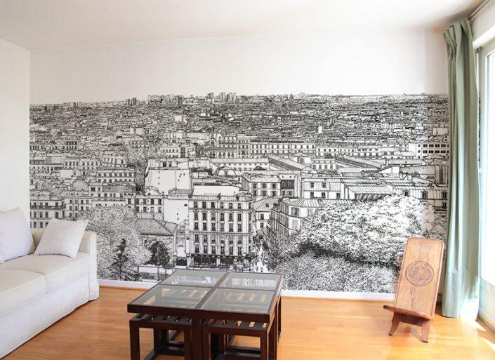 Un papier peint panoramique du quartier Montmartre a Paris
