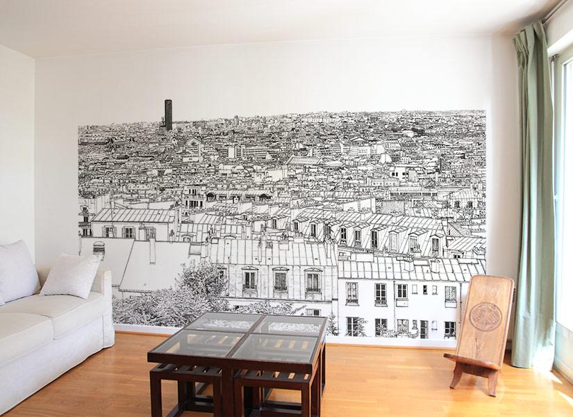 Un petit salon avec papier peint panoramique Tour Montparnasse et Concorde a Paris