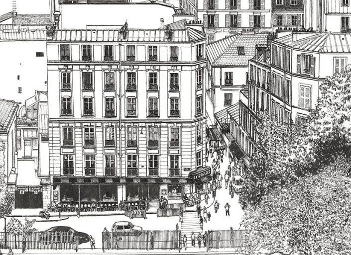 Zoom 2 sur le papier peint big panoramique Montmartre de Thomas Lable