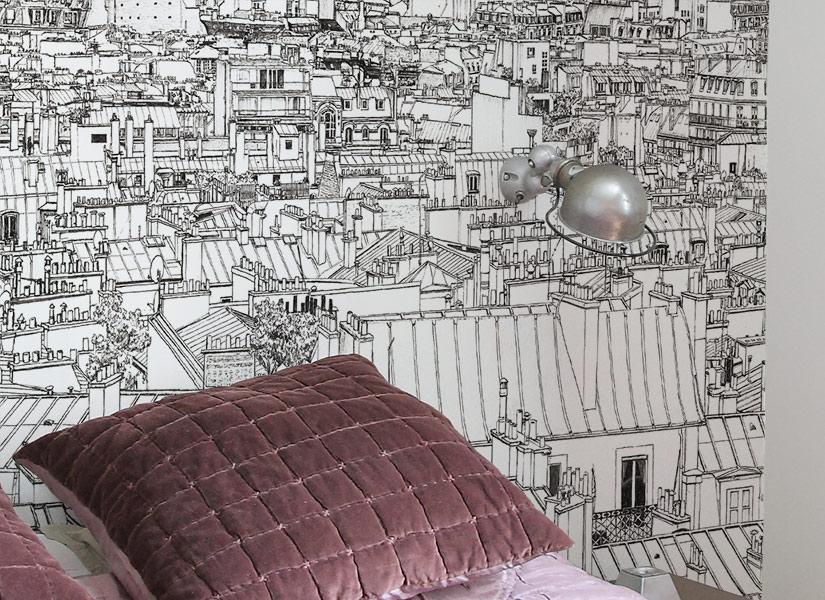 Zoom Papier peint panoramique entre Invalides et Tour Eiffel a Paris de Thomas Lable