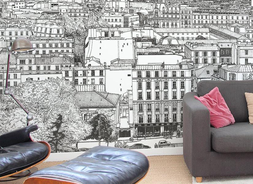 Zoom sur le papier peint big panoramique Montmartre d'un salon