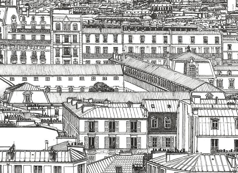 Zoom sur le papier peint panoramique Montmartre de Thomas Lable