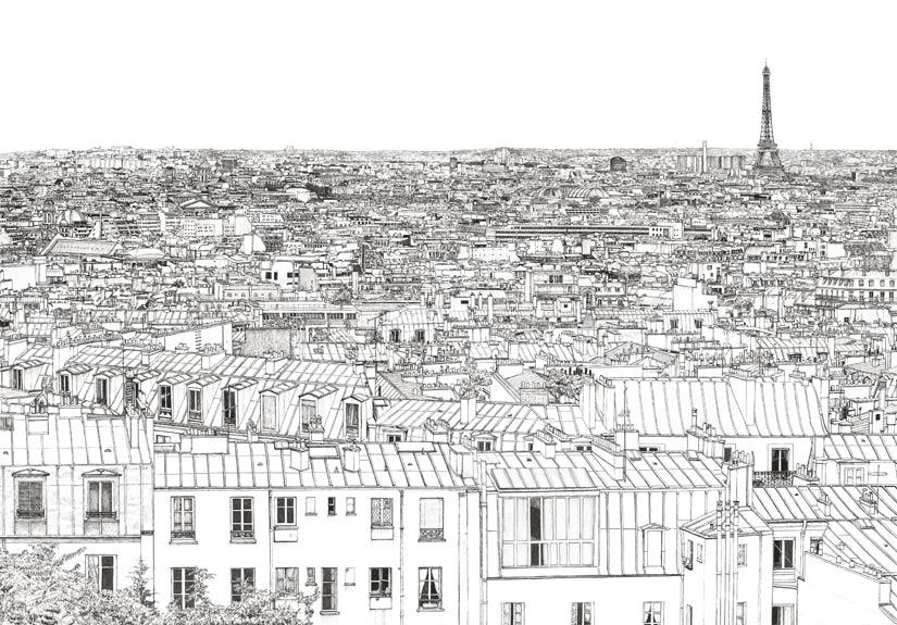 Zoom sur le papier peint panoramique Montparnasse et Tour Eiffel