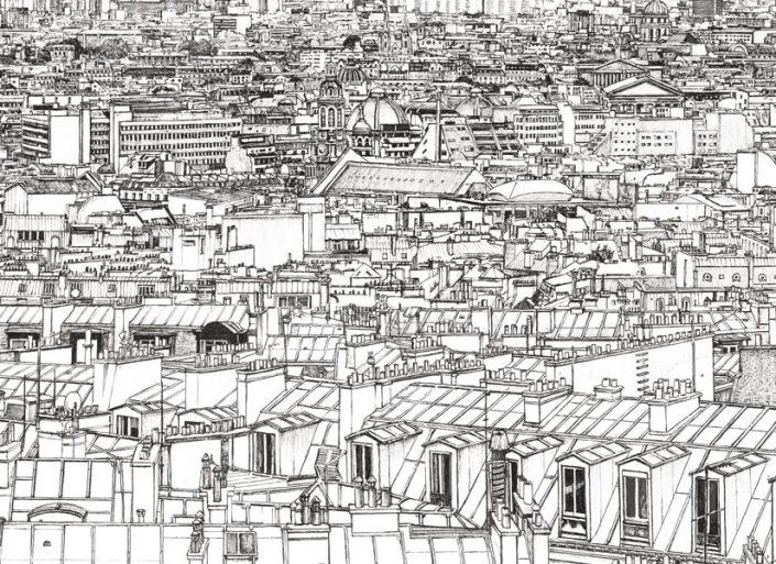 Zoom sur le papier peint panoramique Tour Montparnasse et Concorde a Paris