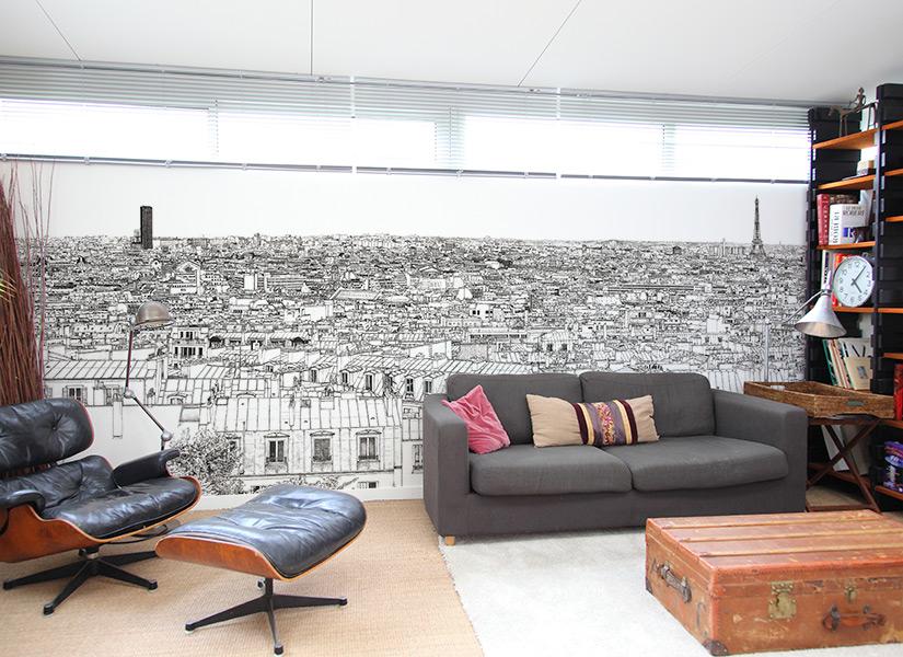Zoom sur le papier peint panoramique avec la tour Montparnasse et la Tour Effeil