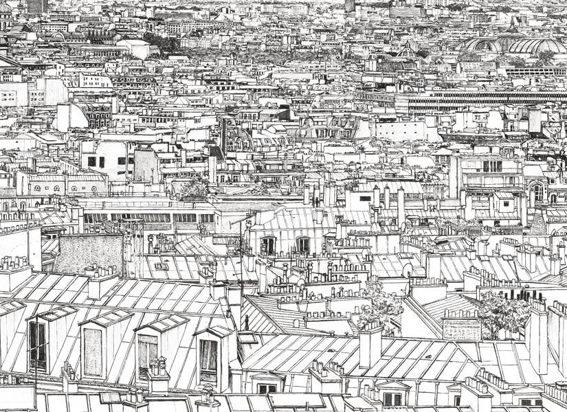 Zoom sur les toits parisiens Papier peint panoramique entre Invalides et Tour Eiffel a Paris
