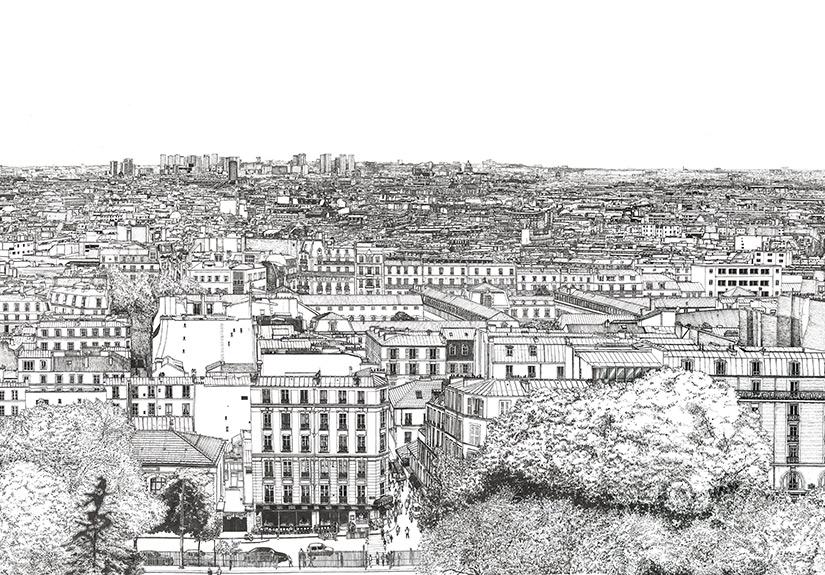 papier peint panoramique Montmartre Thomas Lable