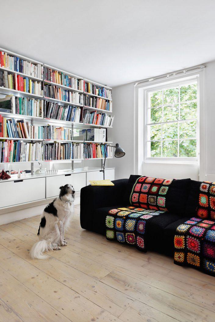 salon avec grande bibliotheque