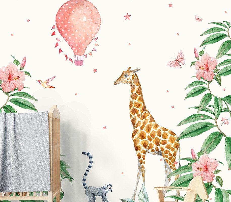 Papier peint avec girafe et montgolfière