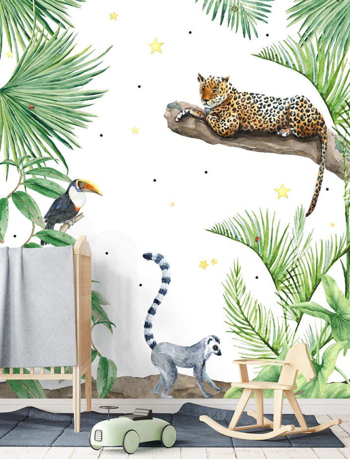 Papier peint avec thème animalier dont trois animaux