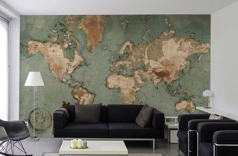 papier peint panoramique globe salon design meuble iconique